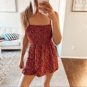 Red Floral Open Back Dress Size Medium